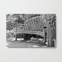 Old Garden Bench Black and White Metal Print