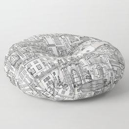 Bath toile black silver Floor Pillow
