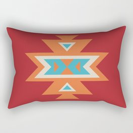 Navajo Aztec Pattern Orange Turquoise on Red Rectangular Pillow