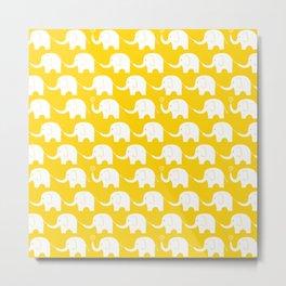 Elephant Parade on Yellow Metal Print