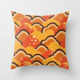 Retro 70s Inspired Boho Clouds Oranges Yellow Browns Throw Pillow