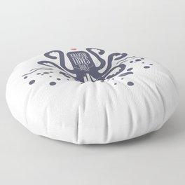Kraken Loves Boat Funny Giant Octopus Floor Pillow