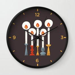 Festive Retro Candles Wall Clock