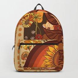 70s, Sunflower, retro, rainbow, warm colors, 60s, boho Backpack