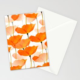 Orange Poppies On A White Background #decor #society6 #buyart Stationery Cards