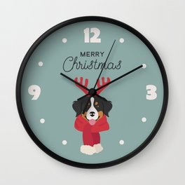 Bernese Mountain Christmas Dog Wall Clock