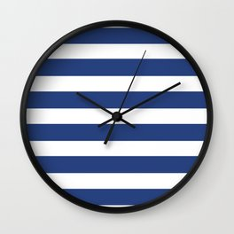 Navy Blue Stripes Letter C Wall Clock