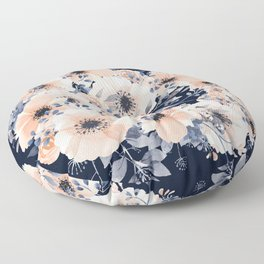 Festive, Floral Watercolor Print, Navy and Pink Floor Pillow