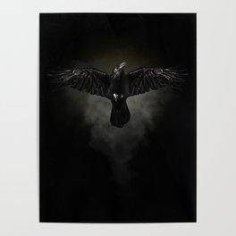 Black raven, crow flight Poster