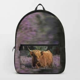 Red highland cow in purple field Backpack