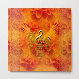 Clef with flowers Metal Print