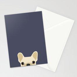 French Bulldog Peek - Cream on Navy Stationery Cards