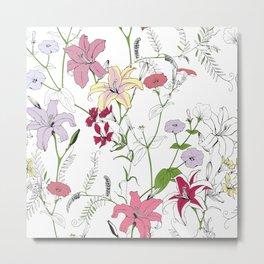 Flower pattern coloring Metal Print