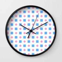Symmetric patterns 164 blue square and pink rhombus Wall Clock