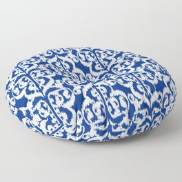 Ikat Moorish Damask, Cobalt Blue and White Floor Pillow