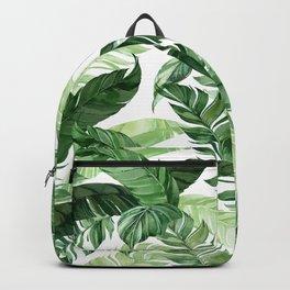 Green leaf watercolor pattern Backpack
