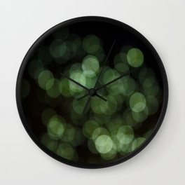 Bokeh Blurred Lights Shimmer Shiny Dots Spots Circles Out Of Focus Green Wall Clock
