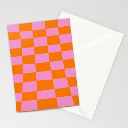 Warped perspective coloured checker board effect grid illustration orange and pink Stationery Cards