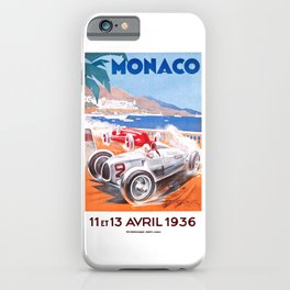 1936 Monaco Grand Prix Race Poster  iPhone Case
