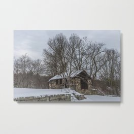 Babson museum in the snow Metal Print