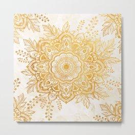 Queen Starring of Mandala-Gold Sunflower I Metal Print