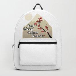 Eat Sleep Anime Repeat Japanese Cherry Blossom Mountains Backpack