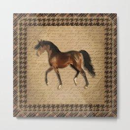 Bay trotting horse Metal Print