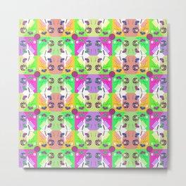 Chequered Fruity Kaleidoscope Memphis Design Metal Print