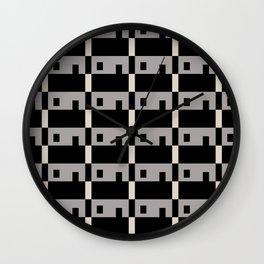 Row House Pattern Grey Wall Clock