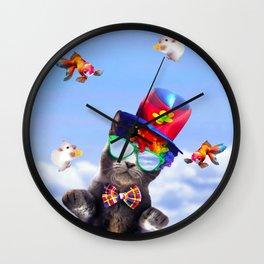 Juggling Clown Cat - Funny Juggle Wall Clock