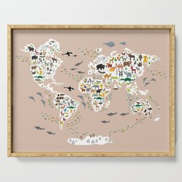 Cartoon world map for children, kids, Animals from all over the world, back to school, rosybrown Serving Tray