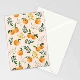 Zesty Oranges Pattern in Peachy Pink Stationery Cards