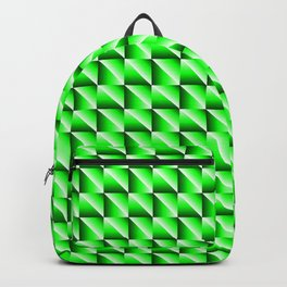 Pattern of bright squares and green rhombuses with diagonal triangles. Backpack