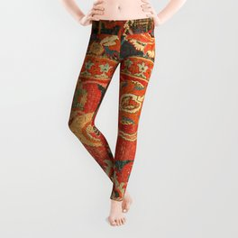 Red Arabic Rug I // 17th Century Colorful Firey Red Light Teal Sapphire Navy Blue Ornate Pattern Leggings