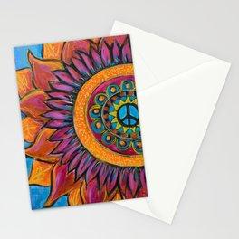 Peace Sunflower Mandala Stationery Cards