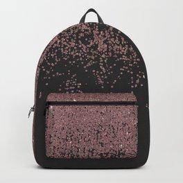 Chic Rose Gold Speckled Glitter Ombre Black Backpack
