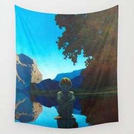 Twilight Sky Blue, Evening Shadows by the Reflection Pool landscape painting by Maxfield Parrish Wall Tapestry
