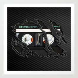 Retro classic vintage Black cassette tape Art Print
