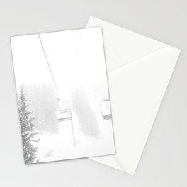Ski Lift Horizon // Ride to the Peak Epic Adventure Whiteout Black and White Minimal Photograph  Stationery Cards