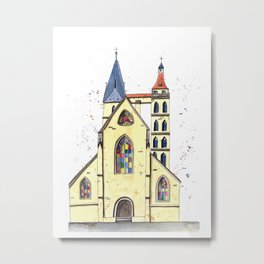 Gothic Church in Germany whimsical watercolor painting Metal Print