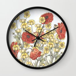 Buttercup and poppy watercolour Wall Clock