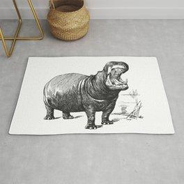 Hippopotamus black and white retro drawing Rug