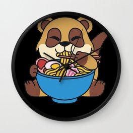Meerkat Ramen Soup Noodle box Cute Kawaii Pun Wall Clock