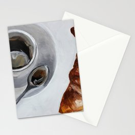 French breakfast, coffee and croissant, original oil painting, daily art Stationery Cards