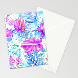 Summer tropical pink teal blue watercolor floral Stationery Cards