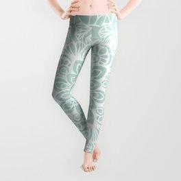Mandala, Yoga, Love, Flower of Life, Teal Green Leggings