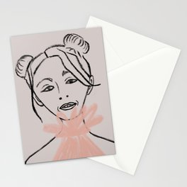 Girl in space buns and tulle dress Stationery Cards