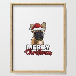Merry Christmas French Bulldog Dog Lover Gift Serving Tray