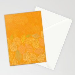 LEAVES ENSEMBLE ORANGE YELLOW Stationery Cards