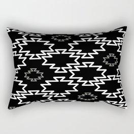 Southwest Azteca 2 -  Geometric Pattern in White, Gray, and Black  Rectangular Pillow